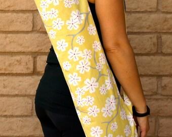Yoga Mat Bag, handmade yoga bag, CHERRY BLOSSOMS, Yoga Tote, Yoga Sling, Yoga Sac, Yoga Sack, Yoga Mat Carrier, Pilates Mat Bag