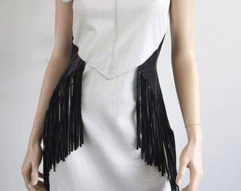 Genuine Leather Dress - Perforated Nappa Fringe Dress in Black/White