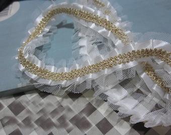 "10 yard 3cm 1.37"" wide ivory gold ruffled lace trim ribbon L17K81 free ship"