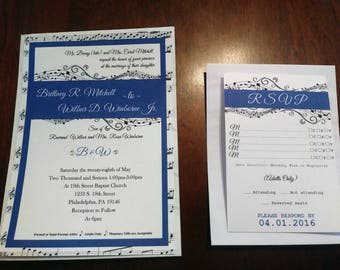 Music themed Wedding Invitations and RSVP