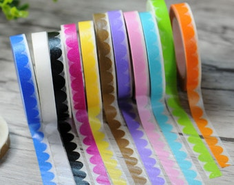 Bunting Washi Tape - Candy Rainbow Lace - Masking Adhesive - Bunting Tape - Scrapbooking Washi Paper Tape - 8mm*11mt - Choose Your Fav Col