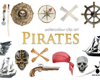 Pirates Clipart, Caribbean Pirates Clipart, Skulls, Digital Paper