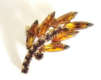 Rhinestone Leaf Pin - Vintage