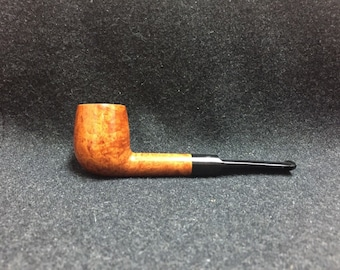 Handcrafted Smooth Straight Shank Billiard with Black Ebonite Saddle Stem