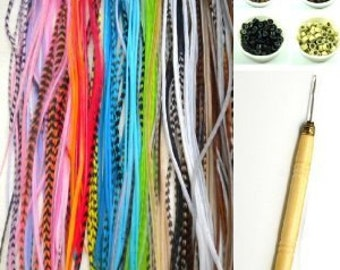 """10 Individual 7""""-11"""" Genuine Multi Color Kit (You will get random mixed colors) with Hook Tool and 10 Beads"""