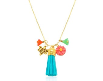 Aquamarine Tassel and Pink Flower Necklace, Colourful Cluster Pendants Gold Necklace, Gift For Her, Mint and Orange Flower Charms Necklace