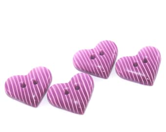 Handmade Ombre buttons, Pink heart buttons, Polymer Clay buttons with stripes pattern, unique pattern,  set of 4