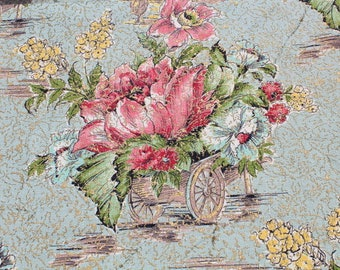 Vintage Pastel Pink Blue Gold Floral Barkcloth Fabric by the Yard, Shabby Chic Flower Drapery Pillow Bark Cloth Fabric BTY Yardage
