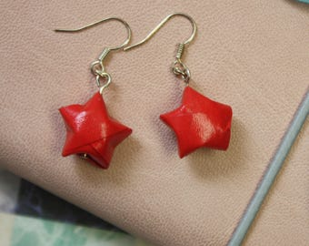 Hanging Red Be a Star Earrings Origami