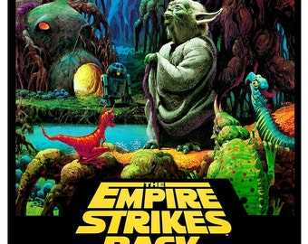 "The Empire Strikes Back poster featuring Yoda - Darth Vader - 13""x19"" or 24""x36"" - Sci Fi  Movie Poster Art - Starwars Han Solo R2D2 C3PO"