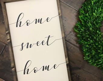 Home Sweet Home Sign - script   Wood Sign   Farmhouse Style   Housewarming   Farmhouse Decor   Farmhouse Sign   Fixer Upper Style   Home Sig