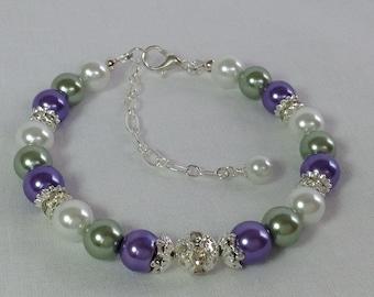 Green Purple White Pearls Bridesmaid Bracelet