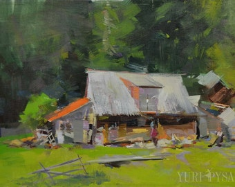 Greenery, Old hut in mountains, Rustic art, Oil painting landscape art nature painting, Impressionist painting plein air artwork