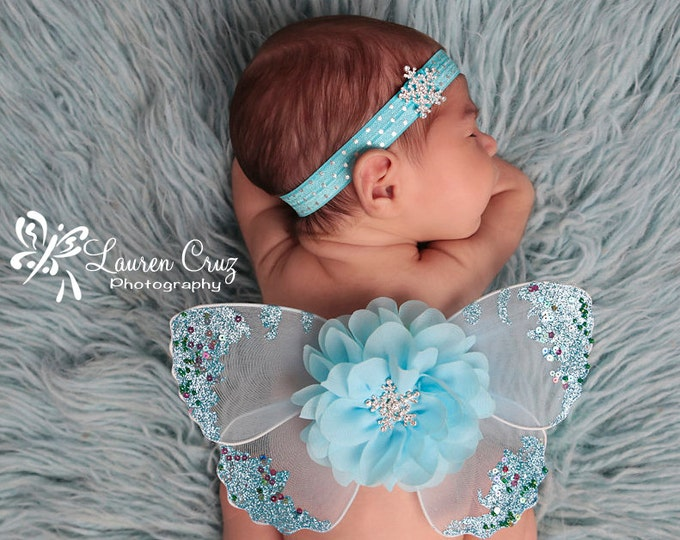 Baby Wing set , Snowflakes and Butterflies, photo prop, butterfly wings by Lil Miss Sweet Pea