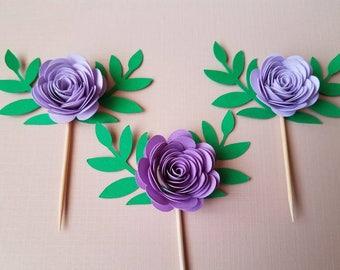 Set of 10 Purple Flower Topper w/Leaves, Paper Flower, 3D Flowers, Small Flowers