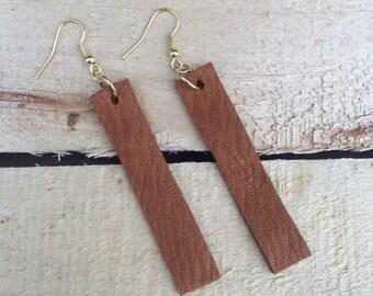 Brown Leather Drop Earrings