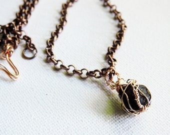Iceland Lava Necklace, Natural Lava Stone, Rustic, Copper Jewelry, Icelandic Lava Jewelry, Lava Pendant, Rose Gold Wire, Unisex Pendant