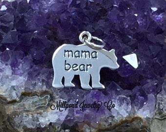 Mama Bear Charm, Bear Pendant, Sterling Silver Charm, Sterling Silver Pendant, California Charm, California Bear Charm