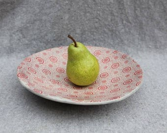 Stoneware Bowl Plate with Vintage Floral Design in Red