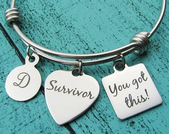 survivor bracelet, You got this jewelry, AA NA addiction recovery gift, sobriety bracelet, strength strong woman, mental health awareness