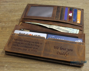 Personalized Leather wallet, Fathers day gift, Fathers day, Father's day gifts, Gifts for Dad, Wife to Husband gift, Mens Leather wallet