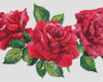 Red Roses Cross Stitch Kit, Red Roses Embroidery Kit, Art Cross Stitch, Floral Cross Stitch