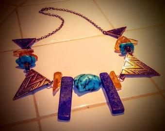 Amber/Turquoise/Lapis Egyptian Sundial Necklace