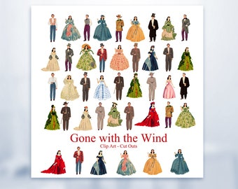 Gone with the Wind Printable Dolls Scarlet O'Hara - Rhett Butler 42 Art Dolls Digital Downloads GWTW Scrapbooking Collage Craft