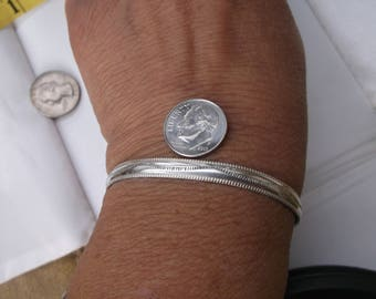 "Sterling Cuff bracelet Native American Hand crafted 1/4"" 6m petit small wrist 6"" 6-1/4"" 6.5"""