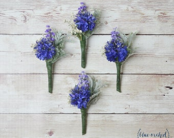 Blue Boutonniere, Silk Flower Boutonniere, Boutonniere, Wedding Boutonniere, Cornflower Boutonniere, Royal Blue, Lavender, Groom, Groomsmen