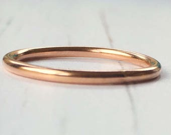 Rose gold ring, Rose gold stacking ring, Rose gold fill ring, polished rose gold stacking ring, gift for her