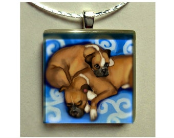BOXER DOGS blue necklace jewelry pet gift 1 inch art glass tile pendant with chain