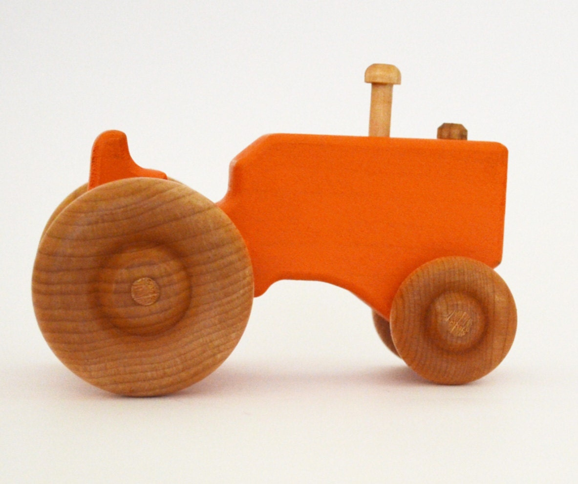 Toys Are Us Wooden Toys : Personalized wood toy tractor orange wooden