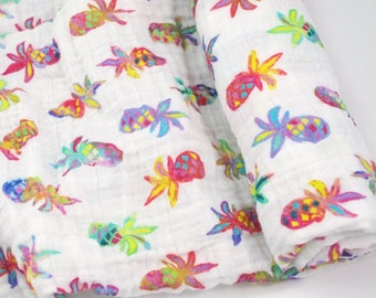 """Muslin Swaddle Blanket in Pineapple Party - made from 100% cotton double gauze - 45"""" square"""