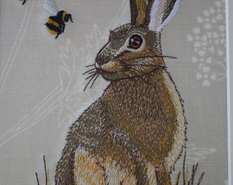 Beautiful Embroidered Hare with Bee