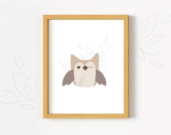 Printable Owl wall art print woodland animal nursery decor PDF download