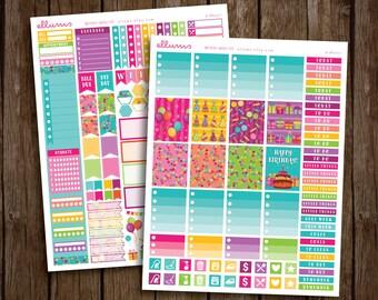 Birthday Weekly Kit   PRINTABLE pdf jpg   Birthday Stickers   Birthday Kit   Birthday Planner Stickers   fits Erin Condren or Recollections