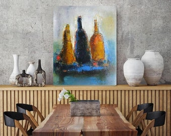 """XL giclee canvas or original cobalt blue red yellow abstract oil canvas,still life with wine bottle,Oil on canvas 16""""x20"""" modern still life"""
