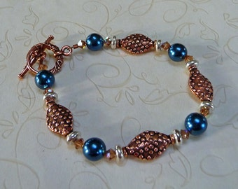 FREE SHIPPING - Blue and Copper Bracelet - B1019