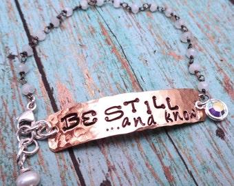 Be Still Bracelet - Be Still and Know Bar Bracelet- Stamped Mantra Spirituality Christian Inspire Cross Crystal -B47