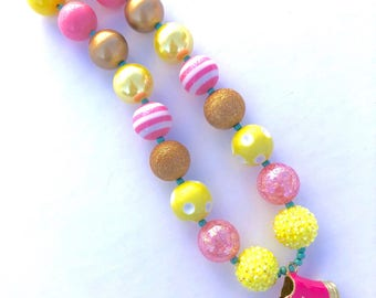 Pink Converse necklace. Pink and yellow bubblegum bead necklace. Rhinestone jewelry. Valentine's gift. Gifts for girls. High top gold shoe.