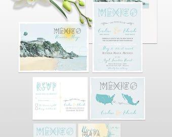 Mexico Riviera Tulum Maya Playa del Carmen Destination wedding invitation illustrated wedding invitation Deposit Payment
