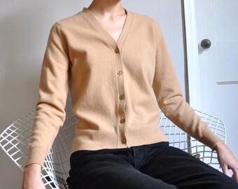 Vintage 70s Camel Tan Pure Wool Cardigan, Womens Small Medium, Pringle of Scotland