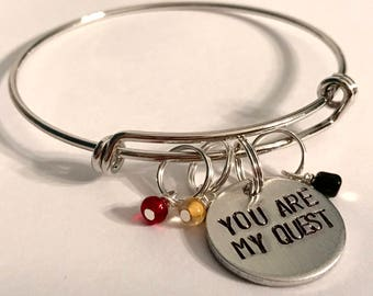 "Kubo and the Two Strings inspired hand-stamped bangle: ""You Are My Quest"""