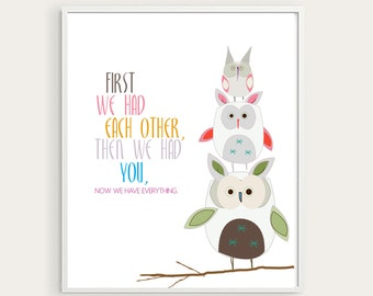 "Easter Bunnies Nursery Wall Art, Woodland, ""First we had each other""- 8X10- Owls Nursery Decor, Baby Shower gift, Baby Girl Decor, Word Art"
