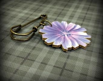 Wild Chicory Pin - Wild Chicory Brooch - Wild Chicory Jewelry - Purple pin - Purple flower pin - Lavender pin - Lavender flower - Costume