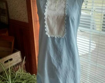 Blue and White Gingham Dress with a White Ruffled Bib Front