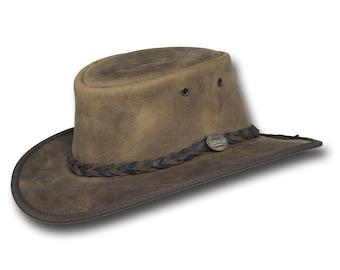 Barmah Hats 1060RU Foldaway Bronco Leather Hat in Rustic