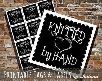 Printable PDF Tags or Labels - Knitted by Hand Chalkboard Style