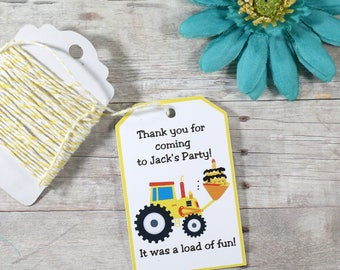 Digger Party Tags 20pc - Boy's Birthday Party Favors - Custom Thank You Tags - Kids Party - Loads of Fun - Contruction Theme